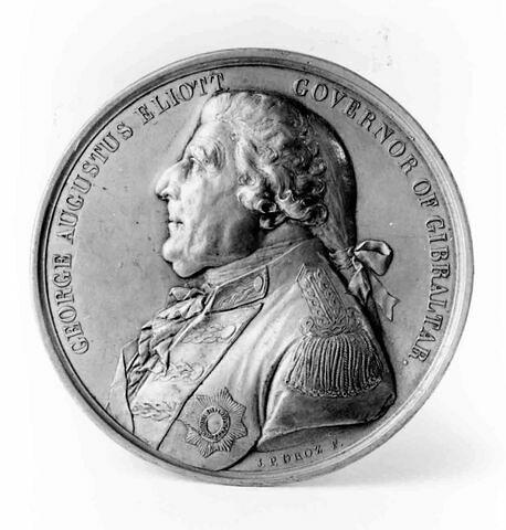Médaille : George Augustus Eliott, gouverneur de Gibraltar, cliché de droit