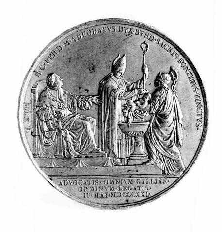 Médaille : Baptême du duc de Bordeaux, cliché de revers