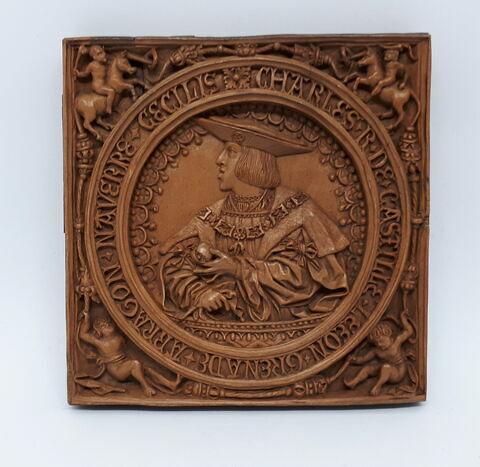 Plaque en buis : Charles, roi de Castille (Charles-Quint)