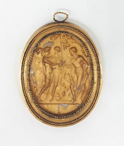 Médaillon ovale dans un cadre en bronze doré : le Jugement de Paris d'après Belli