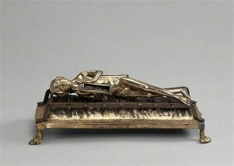 Statuette-reliquaire de saint Laurent.