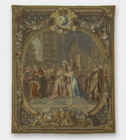 Rodogune de Corneille, de la tenture des Scènes d'Opéra, de Tragédie et de Comédie, accordée par Louis XV au comte de Choiseul, duc de Praslin, en 1763. Offerte par Louis XV au duc de Choiseul en 1766