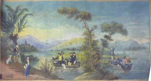 Chasse au canard (d'une suite de cinq pièces polychromes illustrées de scènes de chasse)