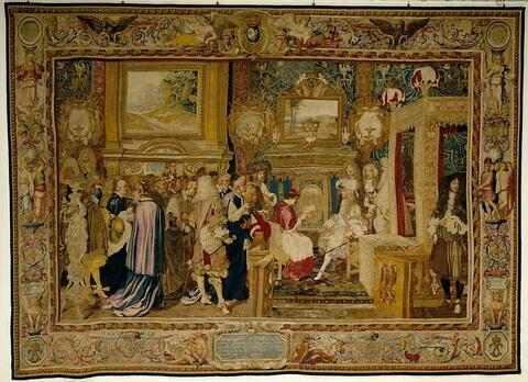 L'audience du légat : le cardinal Chigi reçu à Fontainebleau par Louis XIV, de la tenture de l'Histoire du roi