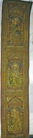 Orfroi brodé provenant d'un ensemble de trois éléments d'ornement de chape : Saint Paul, Saint Pierre, Saint André