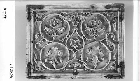 Plaque de coffret : rinceaux avec fleurons et feuillages.