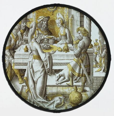 Rondel : Salomé portant le chef de saint Jean-Baptiste à Hérode