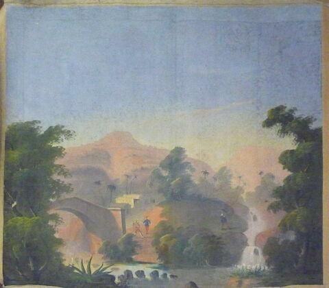 Petit panneau : Chasse près d'une cascade,  d'une série de quatre Scènes de chasse en Algérie