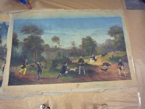 Chasse au sanglier (d'une suite de cinq pièces polychromes illustrées de scènes de chasse)