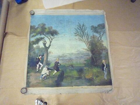 Chasse au lièvre (ou lapin) (d'une suite de cinq pièces polychromes illustrées de scènes de chasse)
