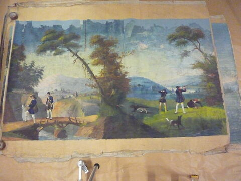 Chasse au faisan (ou à la perdrix ?) (d'une suite de cinq pièces polychromes illustrées de scènes de chasse)