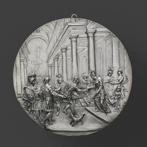 Plaque : Enée vient se présenter à Didon, reine de Carthage