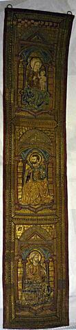 Orfroi brodé provenant d'un ensemble de trois éléments d'ornement de chape : La Vierge, Saint Barthélémy, Saint Jacques le Majeur