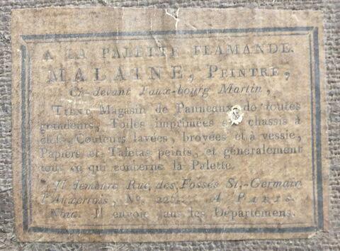 dos, verso, revers, arrière ; détail étiquette © 2014 Musée du Louvre / Peintures