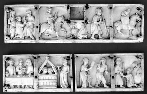 Petit panneau de coffret représentant des scènes de l' Histoire du fils prodigue