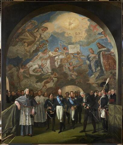 Le Roi Charles X visite les peintures de Gros à la coupole de l'église Sainte-Geneviève, le 24 novembre 1824