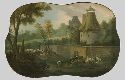 Paysage avec troupeau et pigeonnier