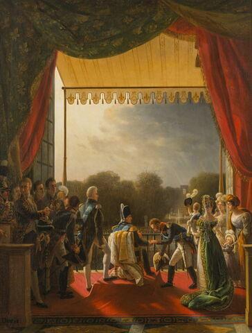 Louis XVIII assiste au retour de l'armée d'Espagne des Tuileries, 2 décembre 1823