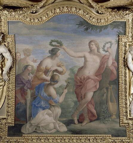 Plafond : Salle des Saisons -Apollon et les Muses,  au dessus de la corniche, côté nord,