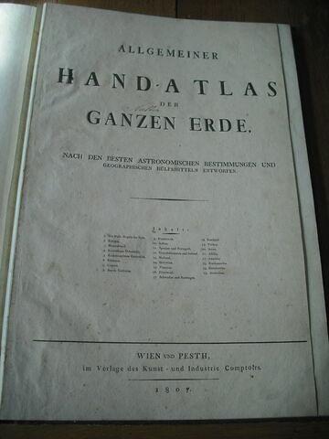 Livre : Allgemeiner Hand-Atlas der Ganzen Erde, Vienne-Pest, 1807