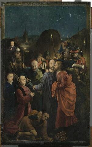 Le Baiser de Judas et l'Arrestation du Christ avec Dreux I Budé  et son fils Jean présentés par saint Christophe