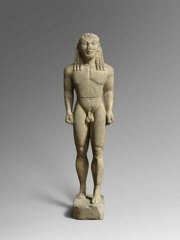 """moulage ; statue ; """"Kouros A"""", identifié à Apollon, à l'un des Jumeaux, Cléobis ou Biton, ou à l'un des Dioscures, Castor ou Pollux."""