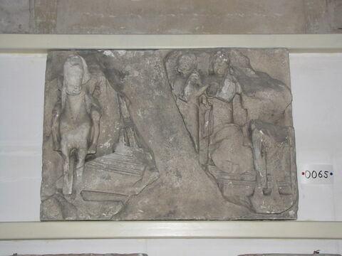 moulage ; métope ; Métope d'un des Dioscures à cheval et Orphée sur le navire Argô.