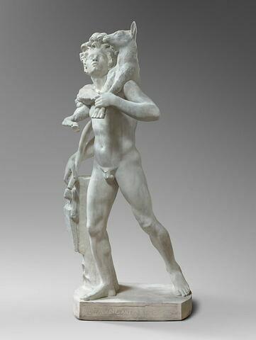 moulage ; statue ; faune au chevreau