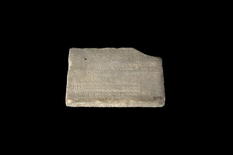 bloc de parement ; inscription