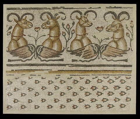 mosaïque  ; Fragment de la mosaïque du Phénix