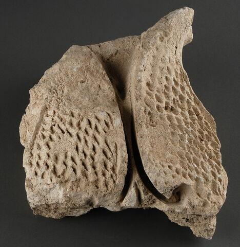 Fragment de stuc à motifs non définissables à surface alvéolée (nid d'abeilles)