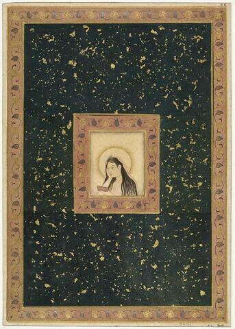 Jeune femme nimbée lisant (page d'album)