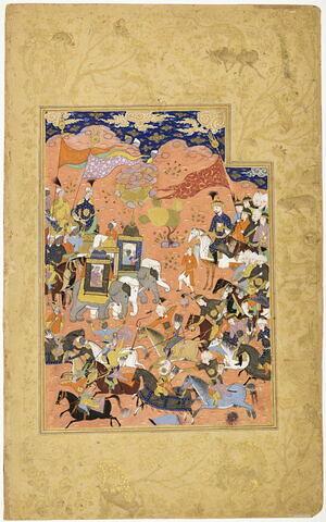 "Affrontement entre deux armées (page d'un ""Habib al-Siyar"")"