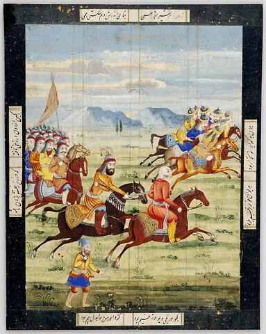 Une armée poursuit un ennemi en déroute (page d'un Shahinshahnama ?)