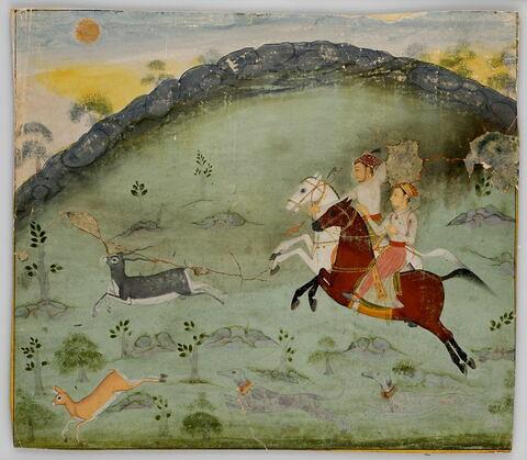 Le Sultan Amar Singh et un prince (?) chassant la gazelle