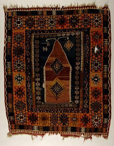 Tapis de prière à décor géométrique (kilim)