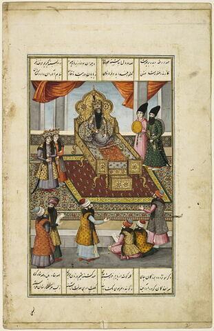 """Fath Ali Shah sur son trône, avec deux princes à ses côtés, reçoit un groupe de savants secrétaires capables d'écrire des poèmes à la louange du roi (page d'un """"Shahinshahnama"""")"""