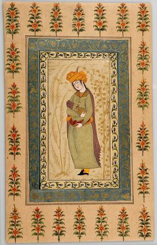 Echanson au turban orange (page d'album) ; revers cartonné