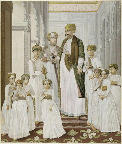Portrait de Shuja ad-Dawlah Nabab d'Oudh et ses dix fils