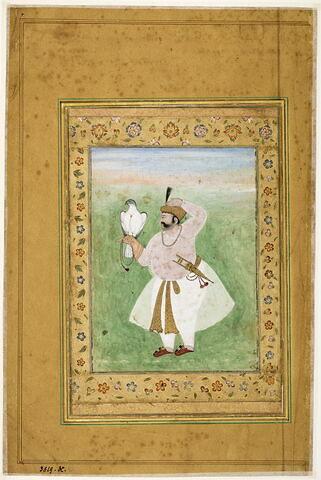 Portrait d'un prince indien au faucon (page d'album)