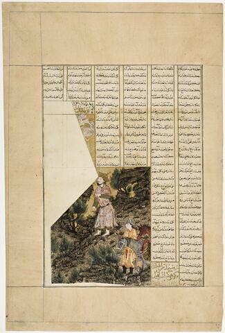 Iskandar sur la montagne d'Israfil (page du Shahnameh dit « Demotte »)