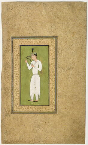 Jeune homme en blanc tenant une branche fleurie (page d'album)