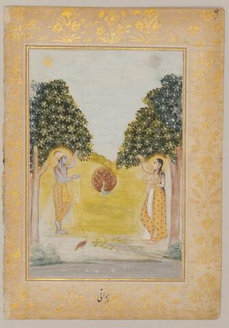 """Malava ragini : deux amoureux et un paon (page d'un """"Ragamala"""")"""
