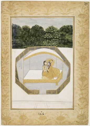 """Malkans raga (?) : couple d'amoureux assis sur un lit (page d'un """"Ragamala"""")"""
