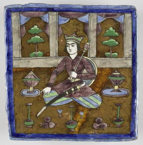 Carreau au personnage masculin assis dans un intérieur