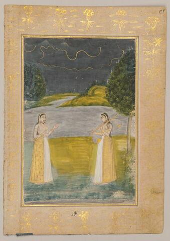 """Malar Ragini : femme jouant d'une vina devant une autre femme dans un paysage nocturne (page d'un """"Ragamala"""")"""
