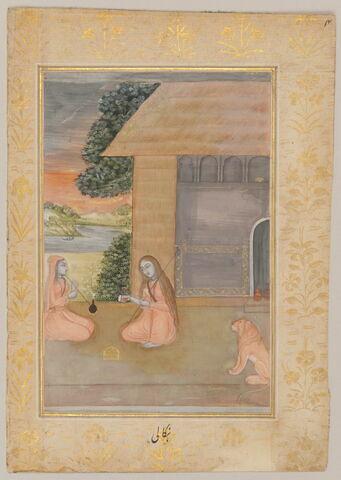 """Bangala Ragini : deux femmes accroupies avec un lion (page d'un """"Ragamala"""")"""