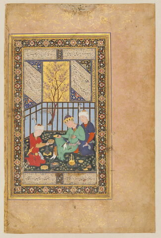 Trois hommes dans un jardin