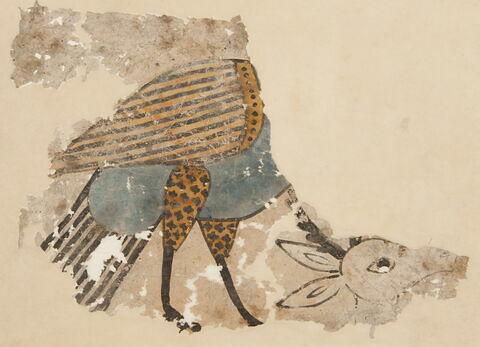Fragment de peinture : oiseau et biche
