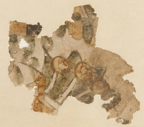Fragment de peinture : étoile verte et cercles bruns